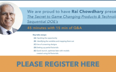 Utah SAMPE Webinar: The Secret to Game Changing Products & Technologies Sequential DOE's w/ Rai Chowdhary
